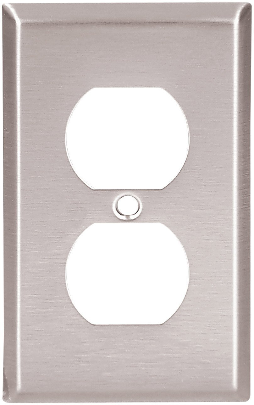 Eaton 93101 Standard Size Stainless Steel 1 Gang Duplex Receptacle Wiring Wallplate Satin Brush Finish Switch And Outlet Plates