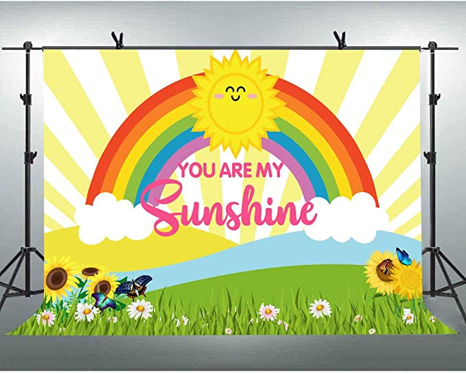 OERJU 6x4ft You are My Sunshine Backdrop 1st Birthday Backdrop Sunflowers Theme Baby Shower Banner Rainbow Smile Sun Sunflower Background Kids Bday Photo Background
