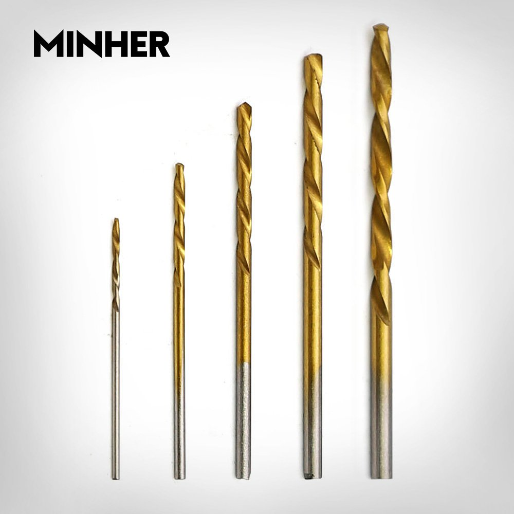MINHER 50PCS Micro Bohrer Set 1//1,5//2//2,5//3mm Titanium Coated HSS High Speed Metallbohrer Spiralbohrer Bohrersets Profi Drill Bit
