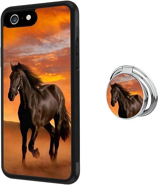 Coque iPhone 6s Plus 6 Plus avec support Cheval en caoutchouc TPU souple noir et PC antidérapant, antichoc Defend Coque de protection pour iPhone 6s ...