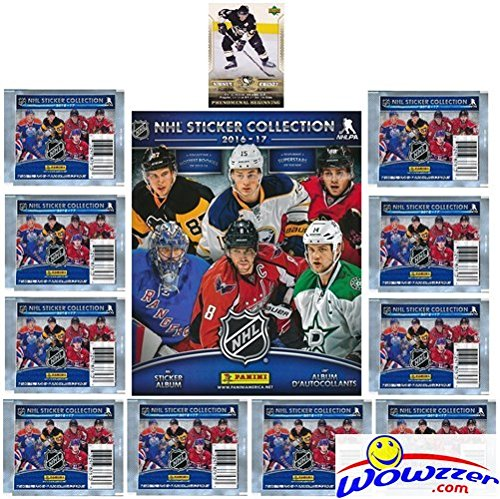 Nhl Sticker (2016/2017 Panini NHL Hockey Stickers SPECIAL COLLECTORS PACKAGE with 80 Brand New MINT Stickers & HUGE 72 Page Collectors Album! Plus SPECIAL BONUS of 2005 UD Sidney Crosby ROOKIE Card!)