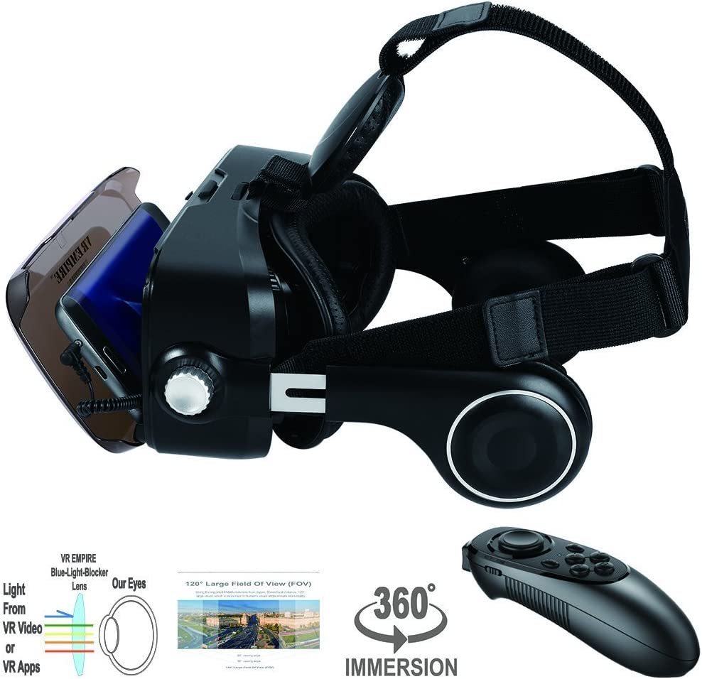 Anti-Blue-Light Lenses Stereo Headset V7.0 -BR for All Smartphones with Length Below 6.3 inch Such as iPhone /& Samsung HTC HP LG etc. VR Headset Virtual Reality Headset 3D Glasses with 120/°FOV