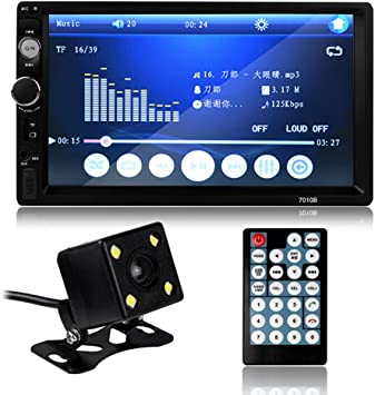 7010B universal 2 DIN Auto MP5 reproductor Video Player pantalla táctil Auto Audio estéreo multimedia FM/MP5/USB/AUX/Bluetooth Cámara: Amazon.es: Electrónica