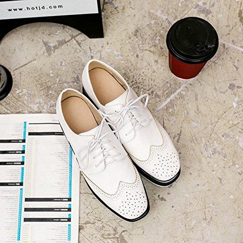 Latasa Dames Lace-up Platform Oxford Schoenen Wit