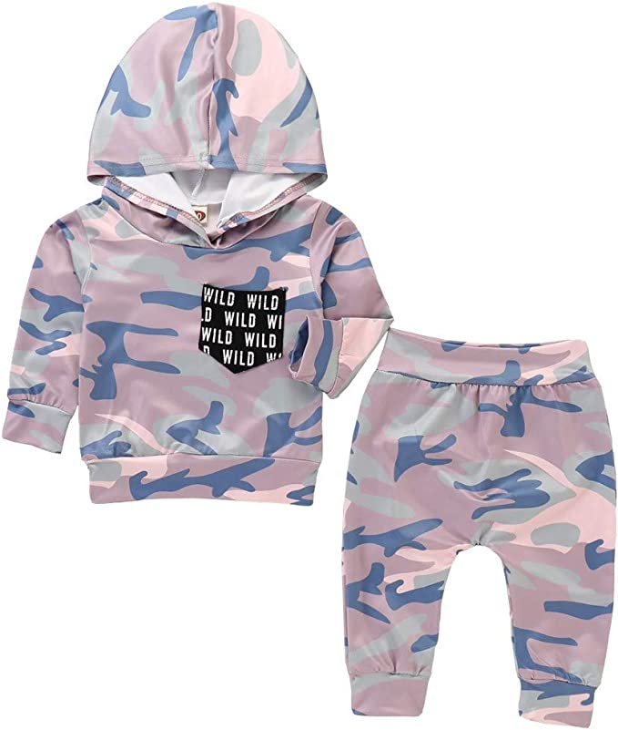 Newborn Infant Baby Girl Clothes Hooded Tops Camo Pants Tracksuit Outfits Set US