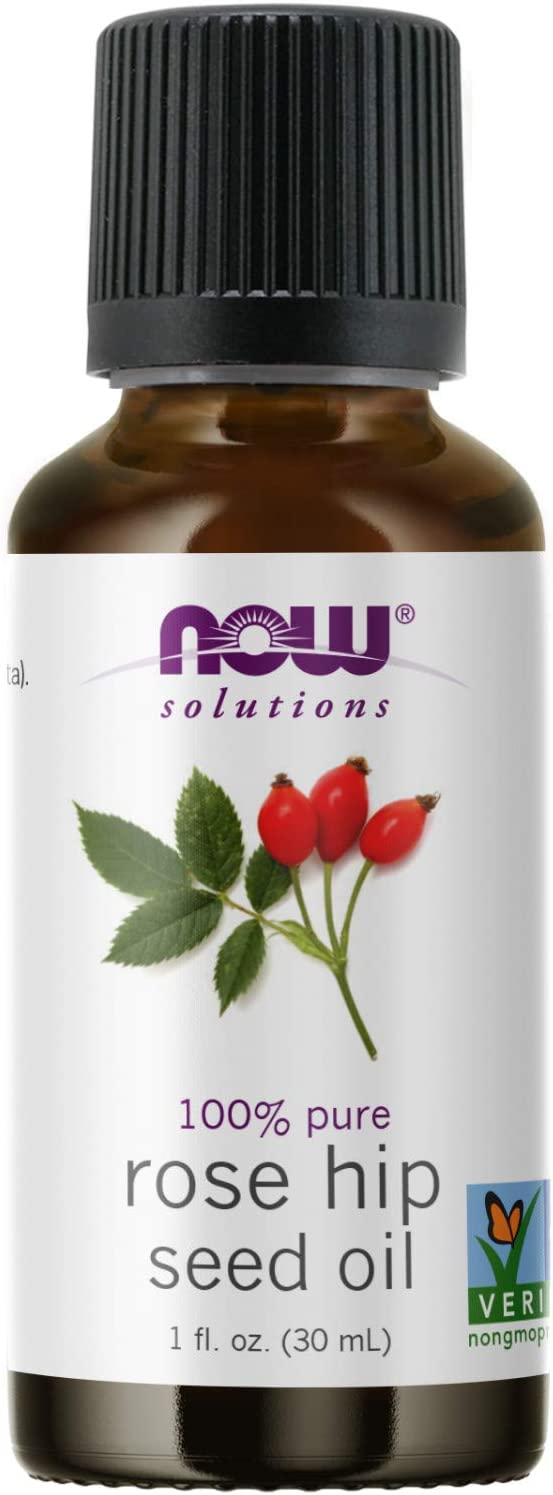 NOW Essential Oils, Rose Hip Seed Oil, 100% Pure, Nourishing and Renewing, For Facial Care, Vegan, 1-Ounce