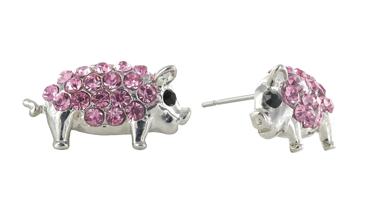 Mini Pig Pav/é Rhinestone Stud Earrings in Pink Crystals Pig Jewelry