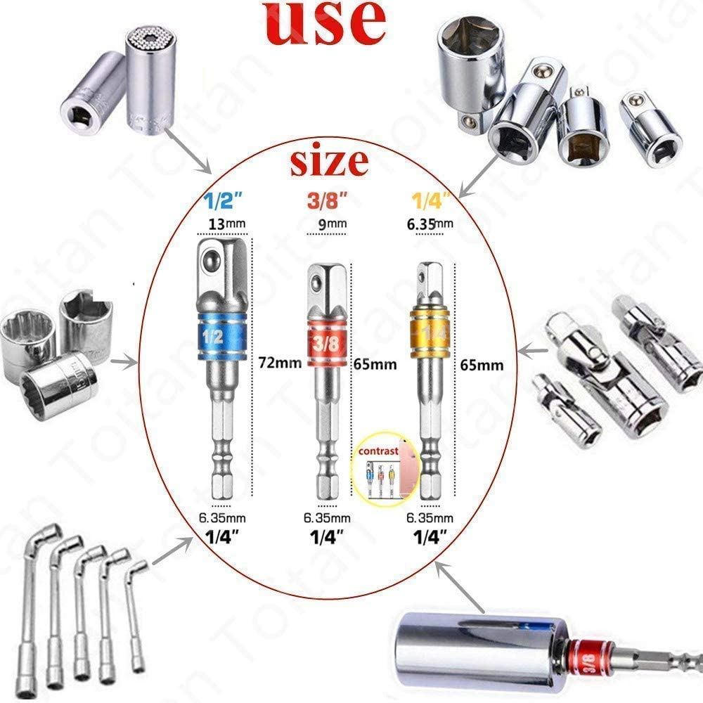 3Pcs 1//43//81//2Hex Shank Bit Socket Wrench Set,Impact Grade Socket Adapter Nut Driver Set+105 Degree Right Angle Drill Attachment Bit Extension Drive Drill Bit Set Socket Screwdriver Set