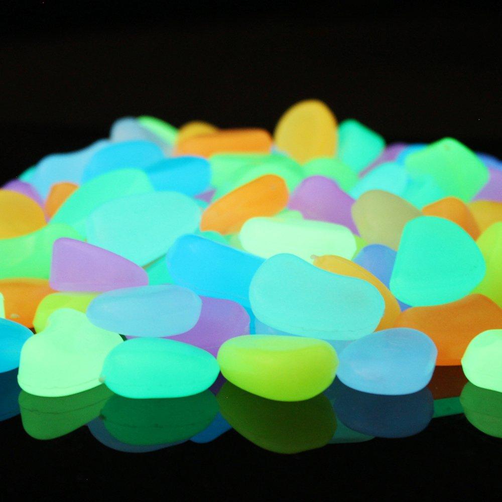 120pcs Colorful Glow in the Dark Stones, Decorative Glow Pebbles for Garden Walkway, Fisn Tank Aquarium Gravel, Luminous Glow Rocks for Backyard Decoration Gift (375g/13.22oz, Multicolor) by Alan Stone