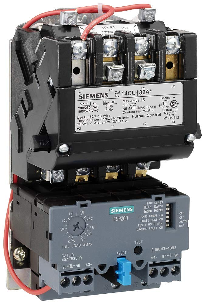 Siemens 14BUB32AA Heavy Duty Motor Starter, Solid State Overload, Auto/Manual Reset, Open Type, Standard Width Enclosure, 3 Phase, 3 Pole, 00 NEMA Size, 0.75-3.4A Amp Range, A Frame Size, 110-120/220-240 at 60Hz Coil Voltage by SIEMENS