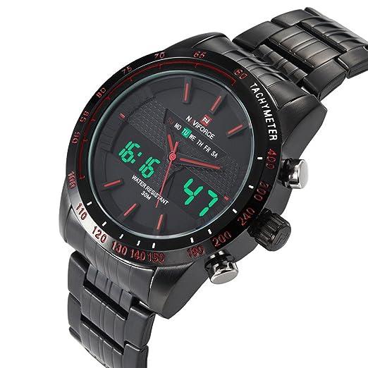 ca109cc99fa8 Readeel Deportes Hombre Reloj Hombres de cuarzo acero inoxidable reloj LED  reloj de la pantalla dual