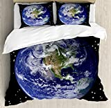 Earth Duvet Cover Set Queen Size by Ambesonne, North America Stars And The Moon From An Astronaut Eye Galaxy Outer Space Theme, Decorative 3 Piece Bedding Set with 2 Pillow Shams, Black Blue Green