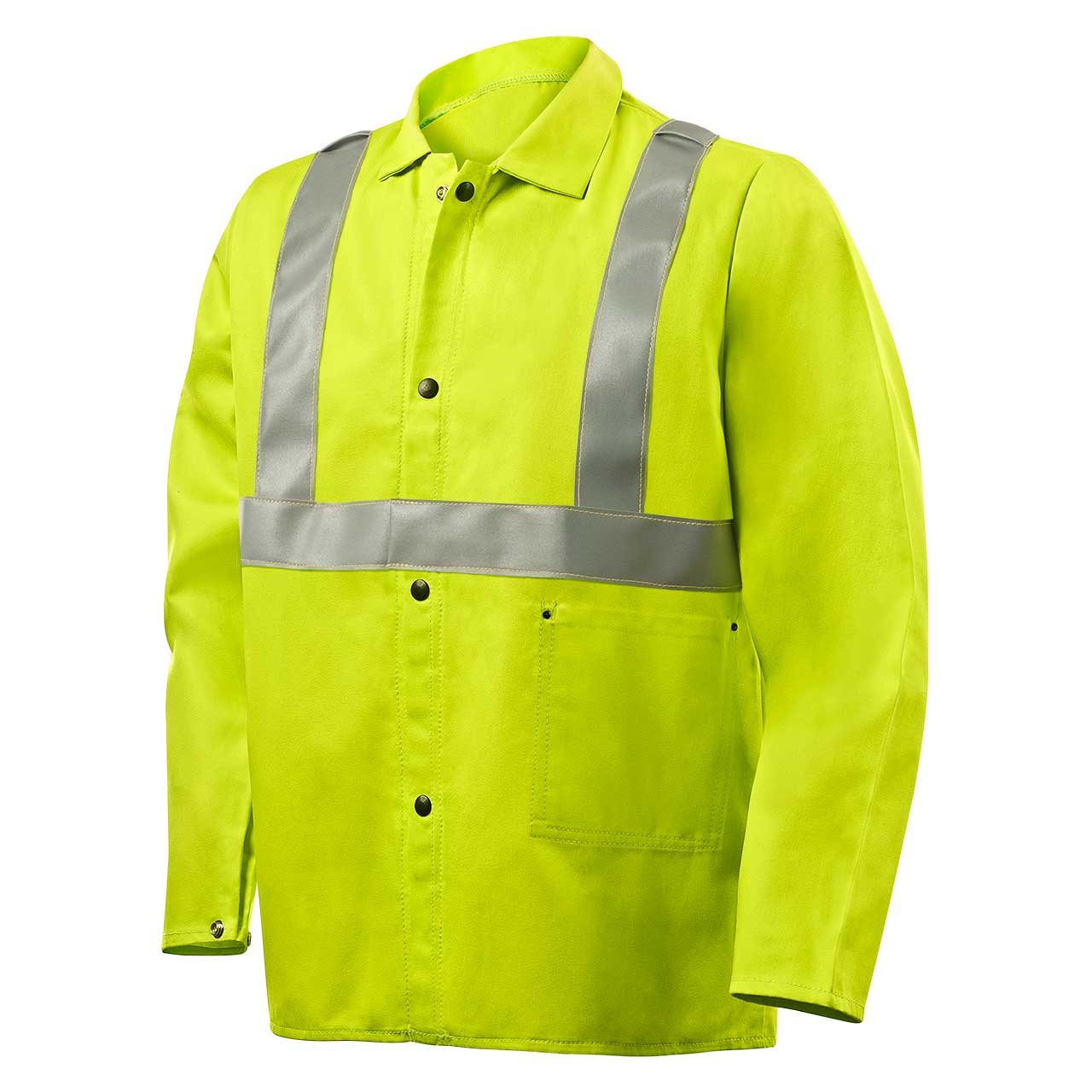 Steiner 1070RS-2X 30-Inch Jacket, Weld Lite 9-Ounce Fire Resistant Cotton Lime Green with Silver Reflective Stripes, 2X-Large