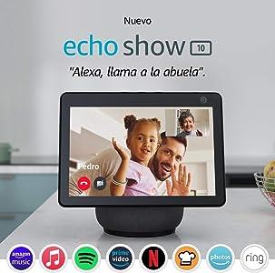 Nuevo Echo Show 10 (3.ª generación) | Pantalla inteligente HD con movimiento y Alexa, Antracita