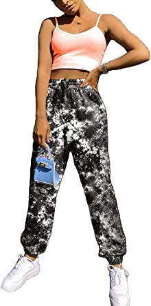 Hilinker Womens Tie Dye Printed Drawstring Casual Jogger Pants with Pockets