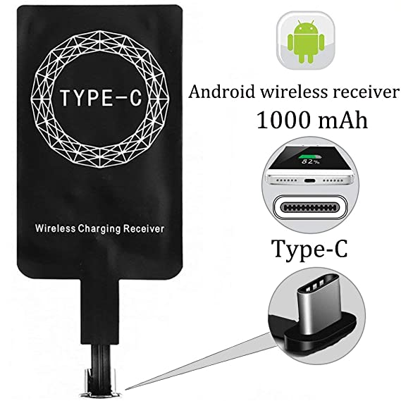 Type C Wireless Charger Receiver, Wisfruit USB C Qi Wireless Charging Receiver,Fast Wireless