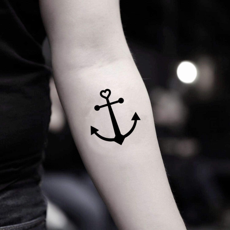Tatuaje Temporal de Corazón de ancla (2 Piezas) - www.ohmytat.com ...