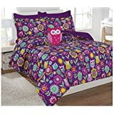 Fancy Collection 8pc Full Size Kids/teens Owl Purple and Flowers Design Luxury Bed in A bag Comforter Set With Furry Buddy Included New