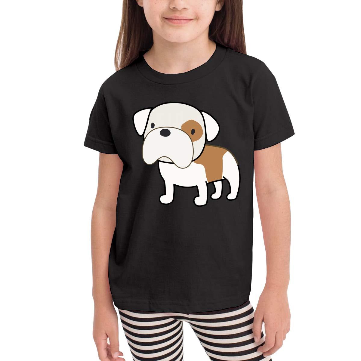 Bam Bam English Bulldog Kids Cotton T-Shirt Basic Soft Short Sleeve Tee Tops for Baby Boys Girls