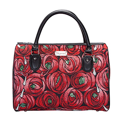 (Charles Rennie Mackintosh Rose and Teardrop Art Nouveau Travel Bag/Floral Lightweight Weekender/Carry on Hand Luggage by Signare (TRAV-RMTD))
