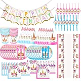 BEYUMI 130 Pcs Unicorn Party Supplies Set, Blue and Pink Set, Unicorn Plates, Cups, Napkins, Straws, Spoon, Knives, Forks, Party Hats, Table cover, Happy Birthday banner, Party Supplies Set for Kids, Birthday Party Supplies, Toys Decoration Novelty Gift for All Ages