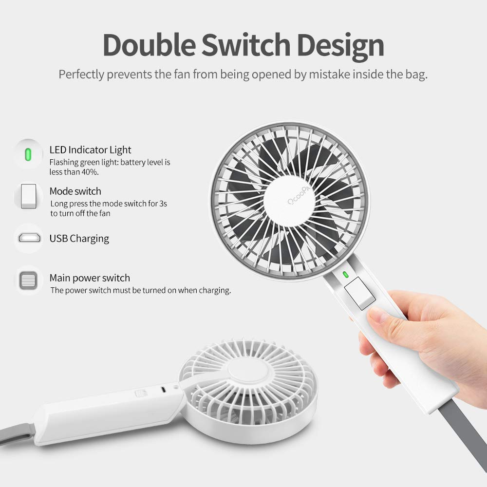 OCOOPA Handheld Fan, 2600mAh Portable Personal Mini Hand Fan with USB Rechargeable Battery Operated, Desk Fan Electric for Office Outdoor Sport Household Traveling Camping, White