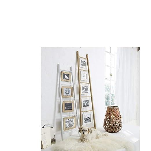 Portaretratos escalera para inclinar sobre la pared, madera, blanco/natural, aprox. 120 cm de altura