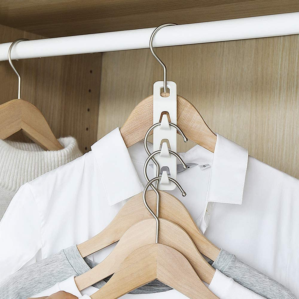 8pcs WINIT Cascading Clothes Hanger Hooks,Space Saving Series Multi-Function Multi-Layer Cabinet Clothes Connection Folding Storage Clothes Rack Hanger Household Strong Load-Bearing Closet Hook