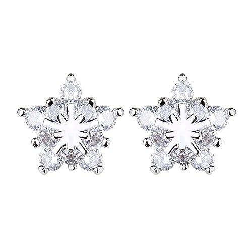 QIYUEQI 925 plata pura Agenda Star Diamond Earrings ...