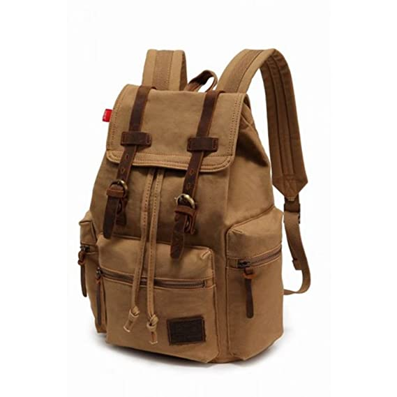 ba798f04fd9 Men Women s Vintage Canvas Backpack Rucksack Satchel School Bag Hiking Bag  (M, Khaki)  Amazon.co.uk  Clothing