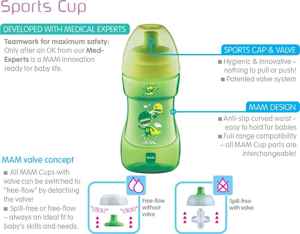 MAM Gobelet de sport avec bec verseur /à d/ébit libre ou anti-renversement 330 ml
