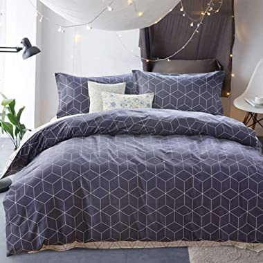 VM VOUGEMARKET Queen Duvet Cover Set Blue,Geometric Duvet Cover with 2 Pillow Shams,100% Cotton Diamond Bedding Set- Reversible,Luxurious,Comfortable,Breathable (Queen,Diamond)