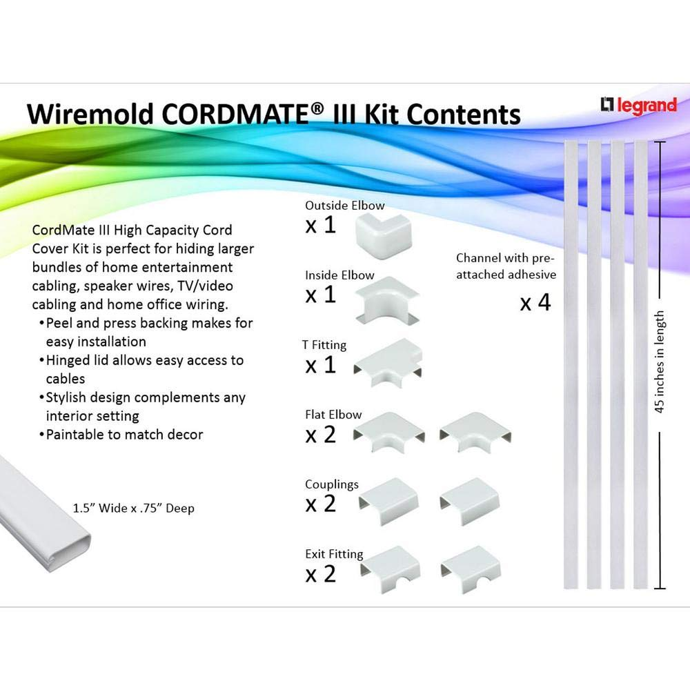 Legrand Wiremold C310 Cord Mate Iii Kit Raceways Wiring Solution Channel For Wall Mounted Flat Panel Tvs Management To Hide Cables Cords Or Wires White Home Improvement