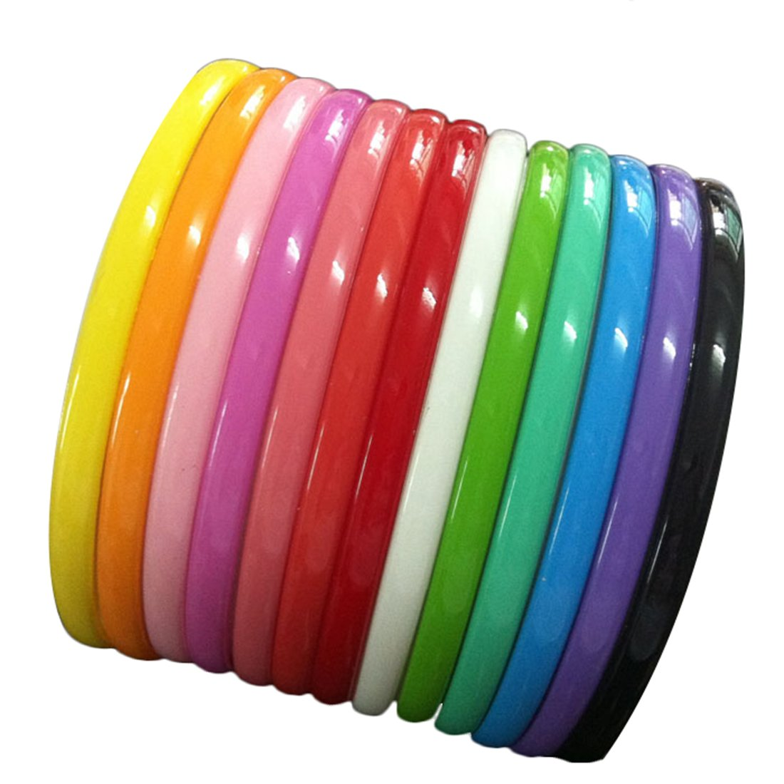 Amazon.com   Yazon 8mm Colorful Plastic Teeth Headbands Girl s Women  Headband Pack of 16   Beauty 0168cbee150
