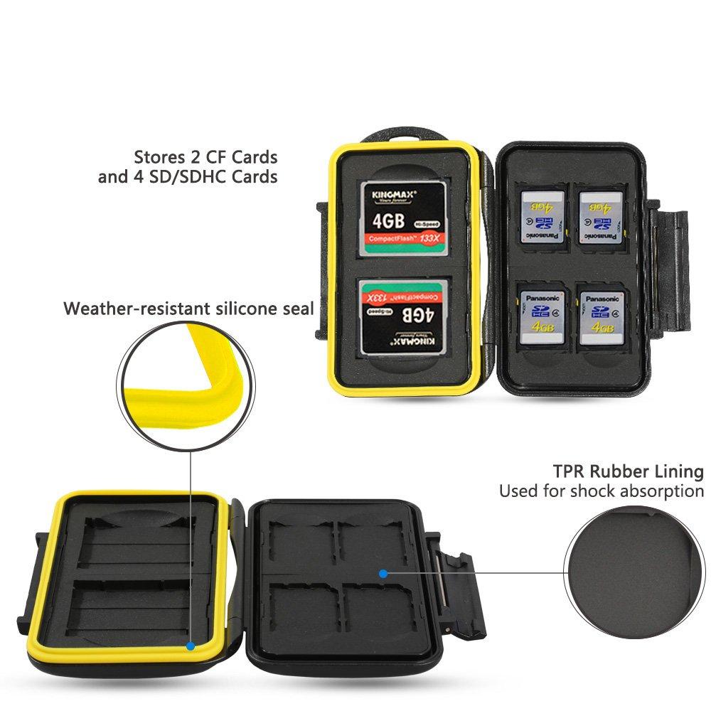 Speicherkarten Tasche Wasserdicht Schutzh/ülle f/ür Speicherkarte 4 SDXC// SDHC// SD Karten 2 CF Compact Flash mit Karabiner von JJC