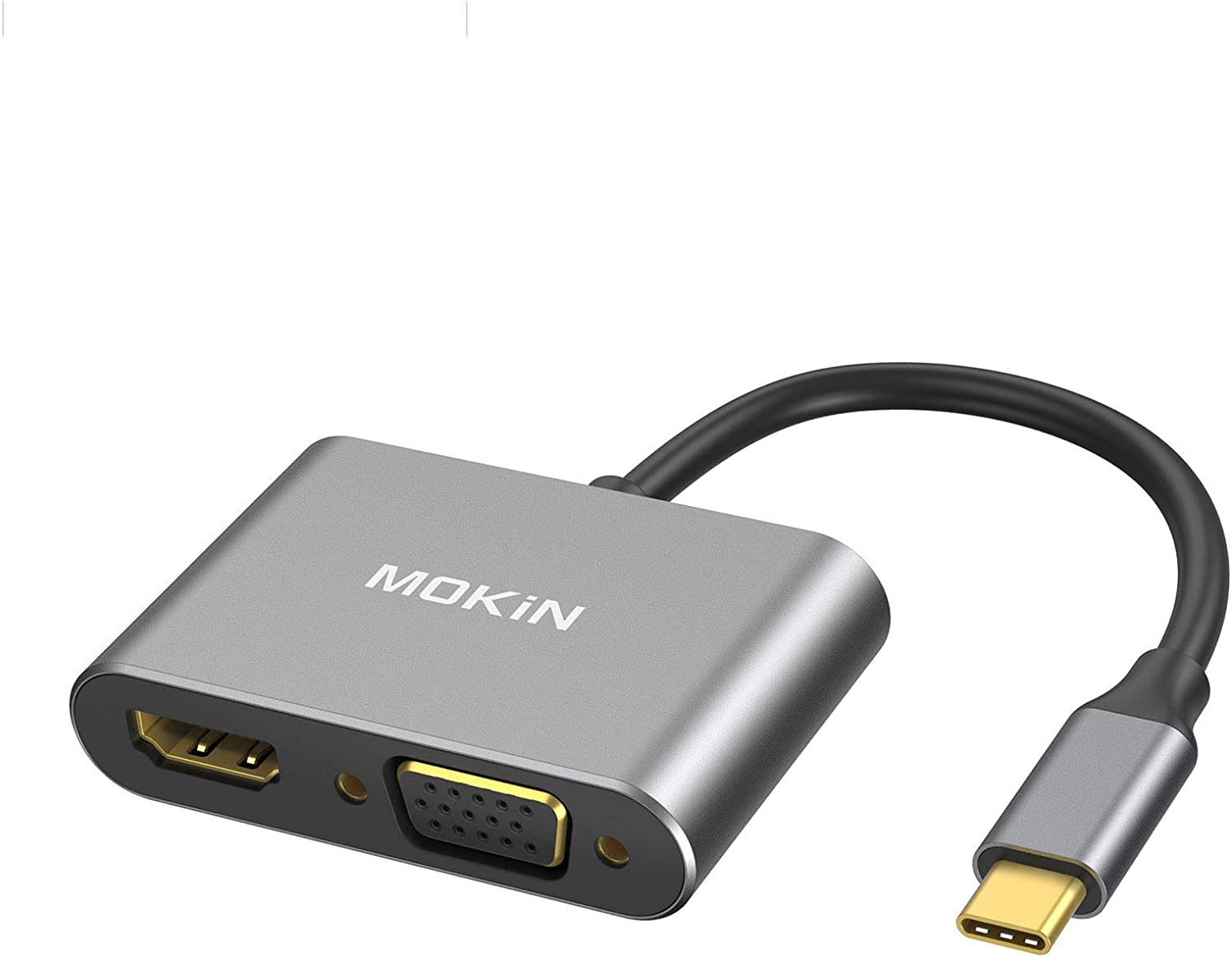 USB C to HDMI VGA Adapter, MOKiN 2-in-1 Type C to VGA HDMI Adapter, Thunderbolt 3 Compatible for MacBook Pro/Air/ipad Pro 2018/Dell XPS, Chromebook Pixel, Galaxy S8/S8Plus, Surface Go, and More