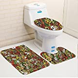 Keshia Dwete three-piece toilet seat pad customCasino Doodles Style Art Bingo Excitement Checkers King Tambourine Vegas