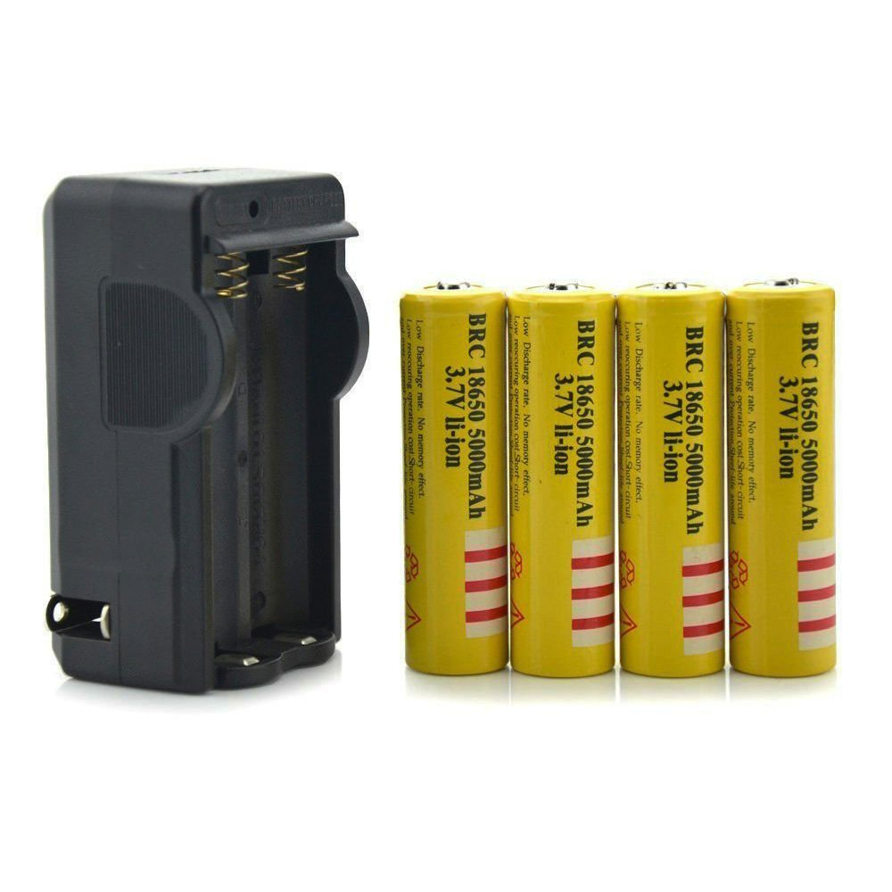 3.7V 18650 Button Top Battery, 4pcs E-shinre 18650 5000mah Rechargeable Lithium Li-Ion Battery with charger for headlamp&headlight≤d light