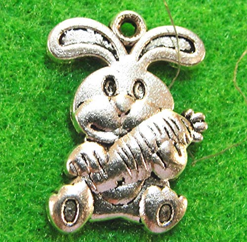 Rabbit Charm Pugster (10Pcs. Tibetan Silver Cute Bunny Rabbit Charms Pendants Earring Drops AN106 Crafting Key Chain Bracelet Necklace Jewelry Accessories Pendants)