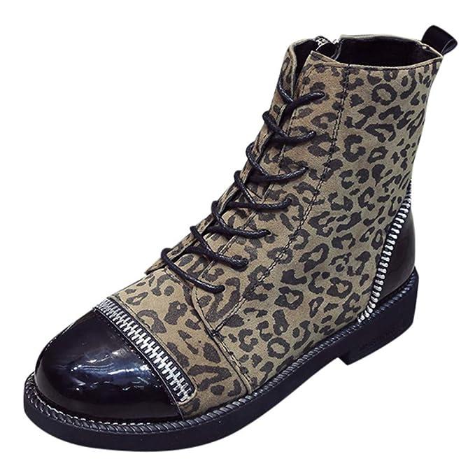 ZARLLE_Botas Zapatos Mujer, Mujer Vintage Botas de Moda Estilo Leopardo de tacón de botín de