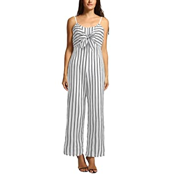 b645d3d679eb Strappy Stripes Jumpsuit for Women Long Wide Pants Front Tie Casual Loose  Romper Bravetoshop(White