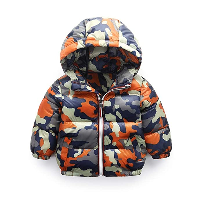 HCMONSTER Chaqueta de Abajo para niños Niños de Invierno Ca Abrigos de muflaje con Capucha para bebés y Parkas para niños niñas Ropa de Abrigo Abrigos de ...