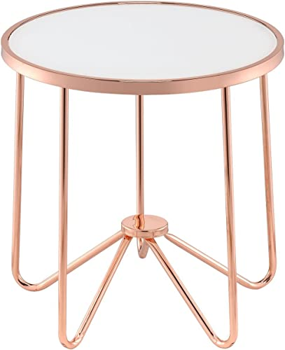 Major-Q 22 H Contemporary Style Round 5mm Frosted Tempered Glass Rose Gold Metal Base End Table,