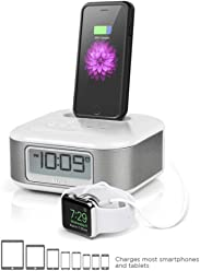 iHome iPL23 Alarm Clock FM Radio with Lightning iPhone Charging Dock Station for iPhone Xs,
