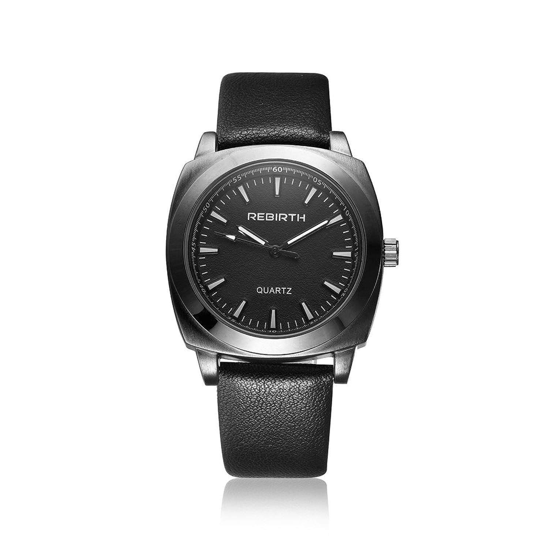 ファッション腕時計RebirthブランドクオーツMan Watchesレザー手首バンドWatch B06Y558KV1