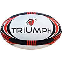 Triumph Synthetic Rubber Rugby Ball (White/Black/Red) Size-5