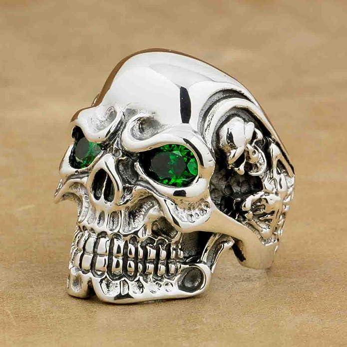 998b229f87b4 LINSION 925 Sterling Silver Titan Skull Green CZ Eyes Mens Biker Ring 8V205  US 7~15 (7.5)