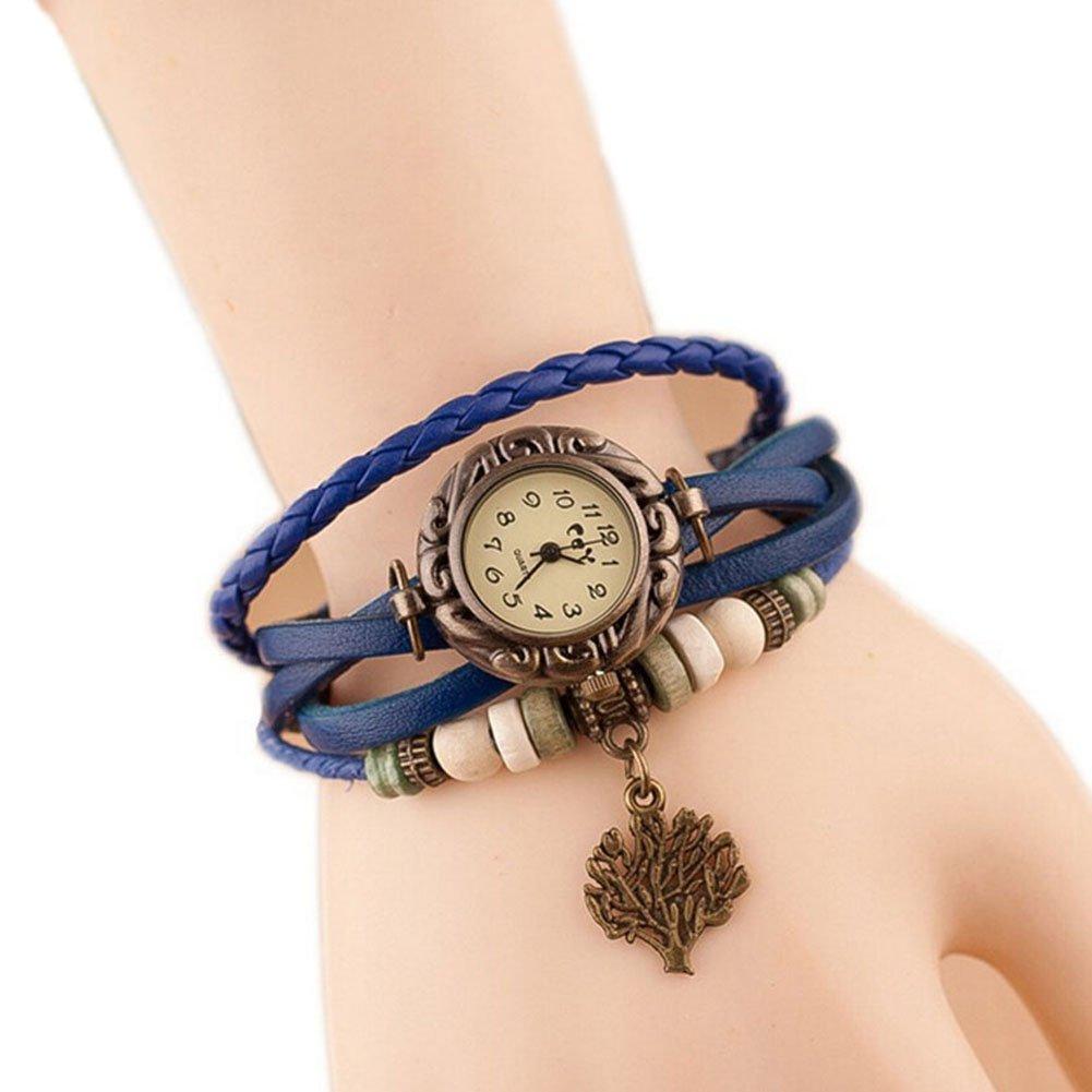 Hosaire Watch Bracelet Vintage Multilayer Weave Wrap Around Leather Chain Bracelet Quartz Wrist Watch with Tree Pendant for Women Men Blue