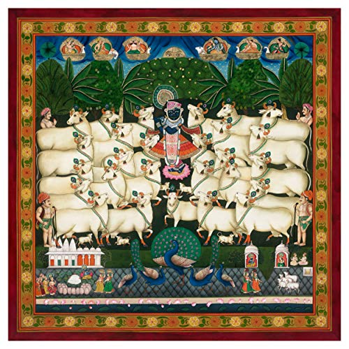 Traditional Indian Painting of Festival of The Cattle, Pichvai (Large Size) Antique Painting Style - Giclée Fine Art Print