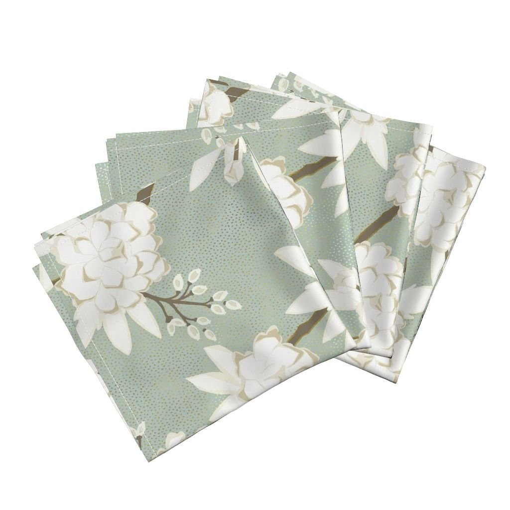 Roostery Gold Metallic Spa Chinoiserie Floral Asian Peony Linen Cotton Dinner Napkins Chinoiserie in Spa by Willowlanetextiles Set of 4 Dinner Napkins by Roostery (Image #1)